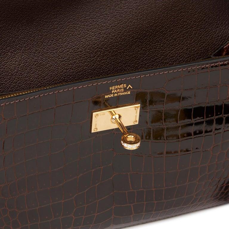 2007 Hermès Cocaon Shiny Porosus Crocodile Leather Diamond Kelly Long Wallet For Sale 4
