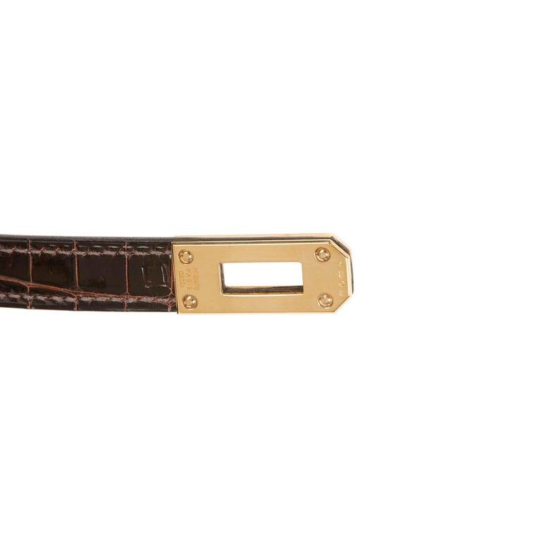 2007 Hermès Cocaon Shiny Porosus Crocodile Leather Diamond Kelly Long Wallet For Sale 5