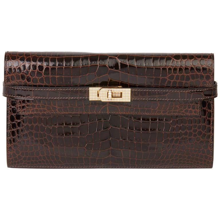 2007 Hermès Cocaon Shiny Porosus Crocodile Leather Diamond Kelly Long Wallet For Sale