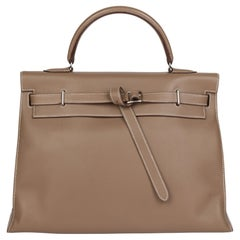 2007 Hermes Etoupe Swift Leather Kelly Flat 35cm Sellier