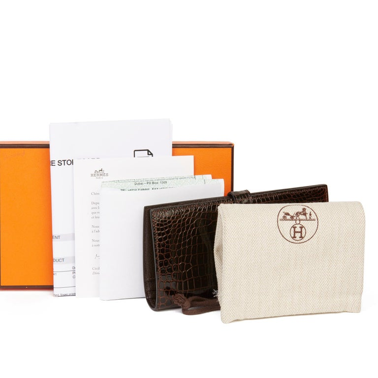 2007 Hermès Havane Shiny Porosus Crocodile Leather Diamond Bearn Wallet For Sale 8
