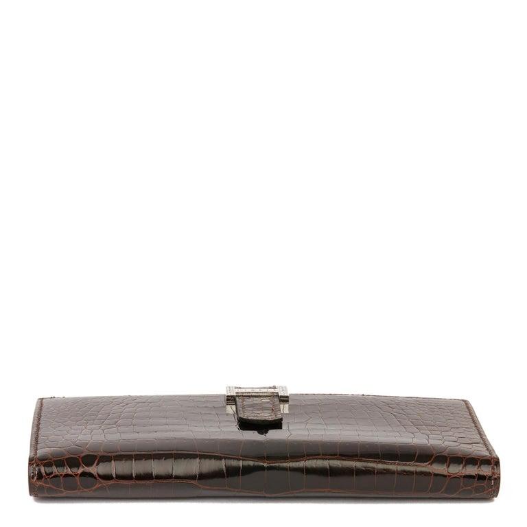 2007 Hermès Havane Shiny Porosus Crocodile Leather Diamond Bearn Wallet For Sale 2