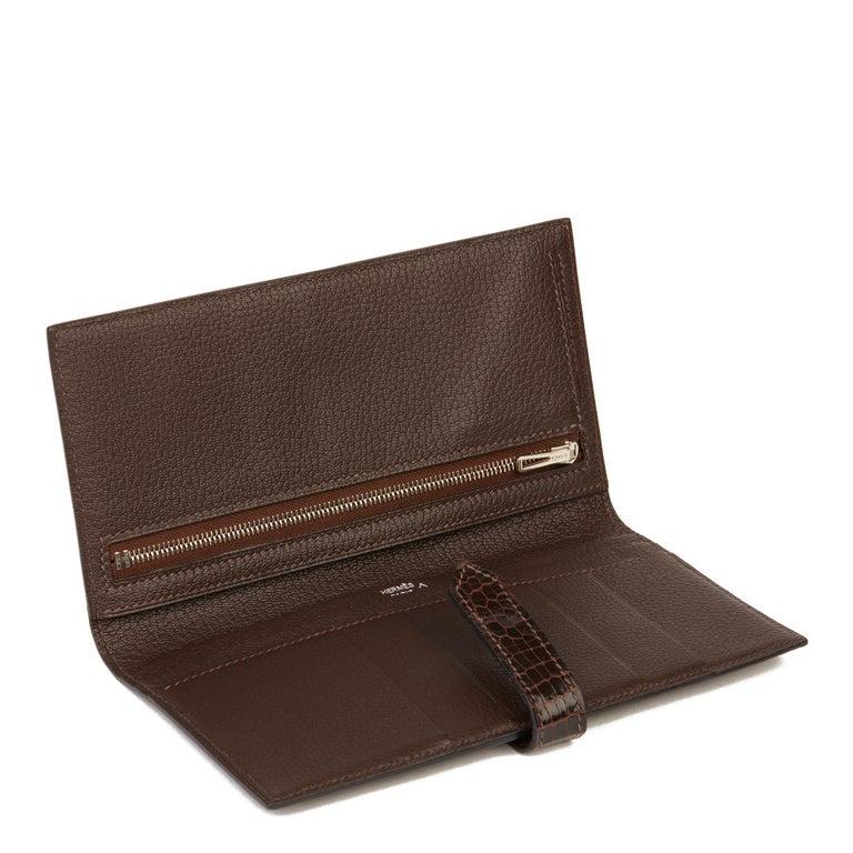 2007 Hermès Havane Shiny Porosus Crocodile Leather Diamond Bearn Wallet For Sale 4
