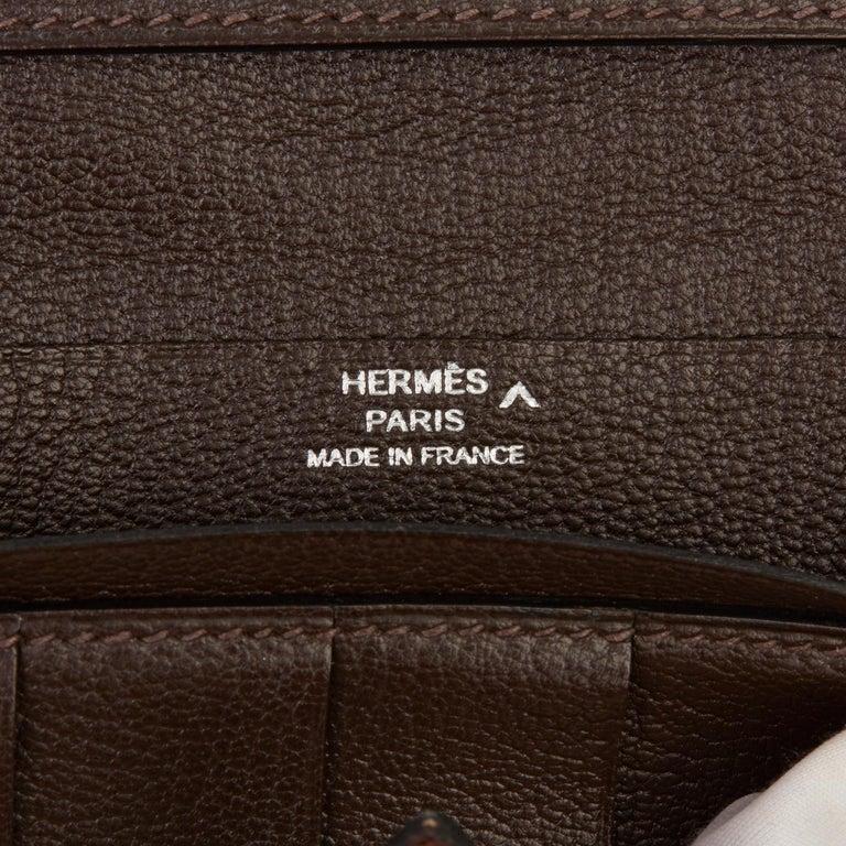 2007 Hermès Havane Shiny Porosus Crocodile Leather Diamond Bearn Wallet For Sale 5