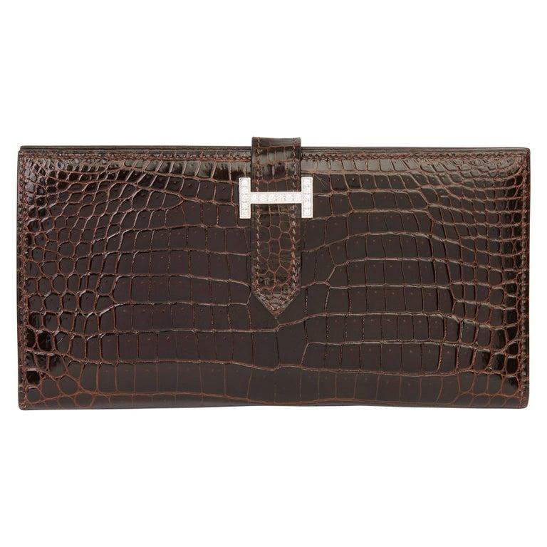 2007 Hermès Havane Shiny Porosus Crocodile Leather Diamond Bearn Wallet For Sale