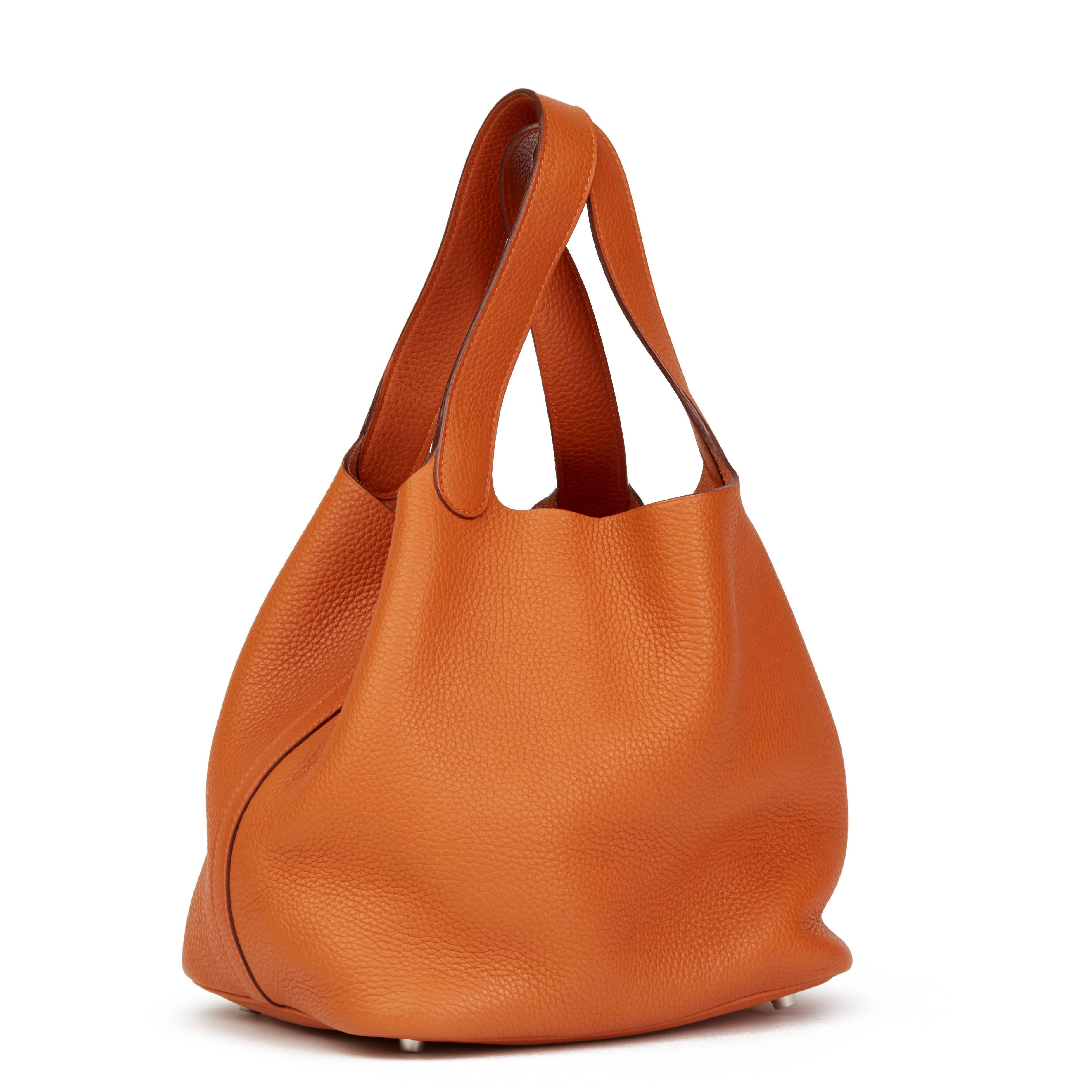 596a0 3ca67  where to buy 2007 hermes orange h clemence leather picotin 22  in excellent condition for sale fb1e97c9227cc