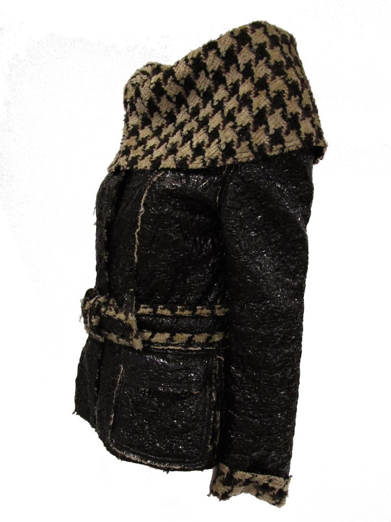 Black 2007 Oscar De La Renta Houndstooth Jacket For Sale