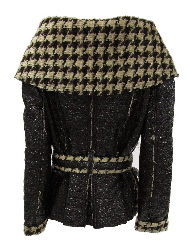 2007 Oscar De La Renta Houndstooth Jacket In Excellent Condition For Sale In Houston, TX
