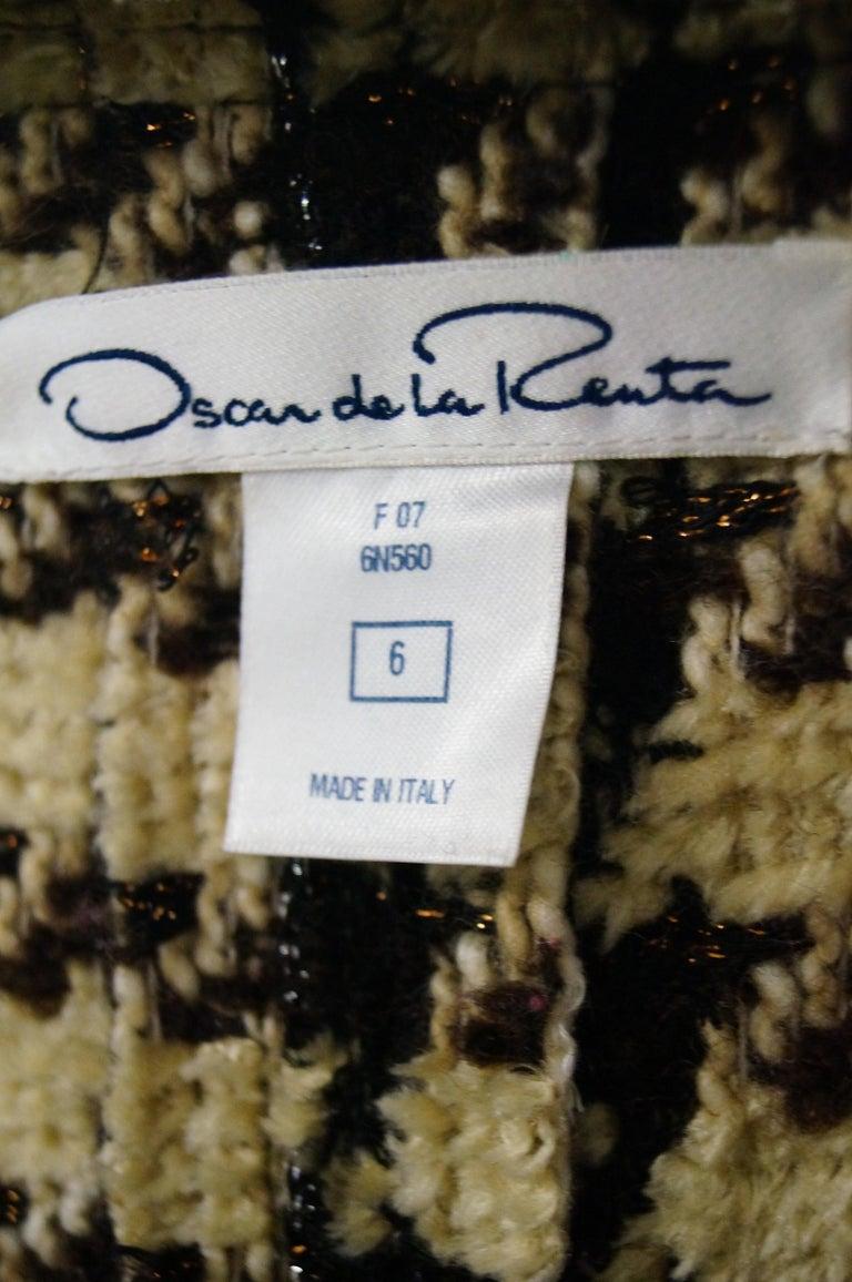 2007 Oscar De La Renta Houndstooth Jacket For Sale 2