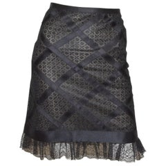 2007 P Chanel Black Lace Birdcage Skirt