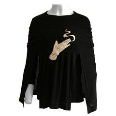 2007 Runway Marc Jacobs Surrealist Sequin Smoking Hand Black Cape Layered Top