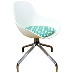 2007 White Jakob Swivel Chairs by Chris Martin for Ikea with Blue Accent Cushion