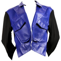 2007 YOHJI YAMAMOTO blue leather runway jacket with forced front   - NEW