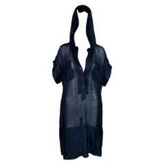 2007 Yve Saint Laurent Sheer Navy Blue Silk 2 Hooded & Slip Dress Set