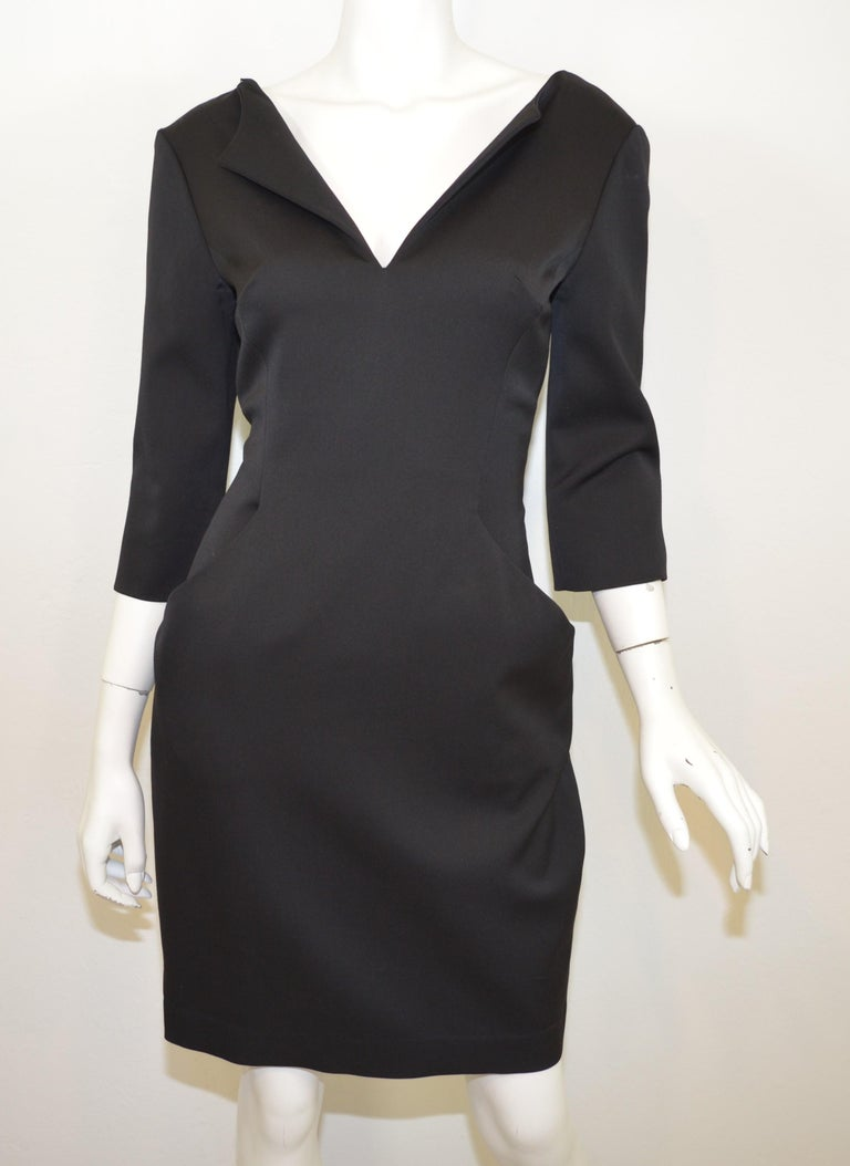 2008 Alexander McQueen Black 3/4 Sleeve Dress In Excellent Condition For Sale In Carmel by the Sea, CA
