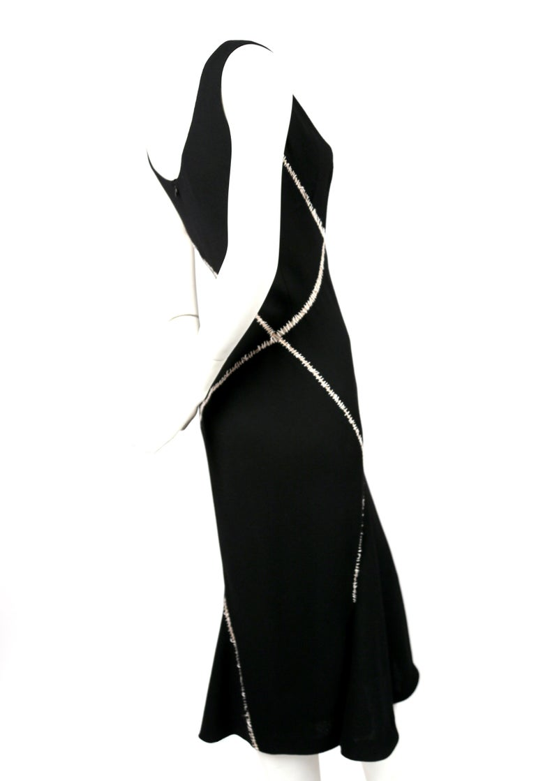 2008 ALEXANDER MCQUEEN black wool dress with white stitching  In Good Condition For Sale In San Fransisco, CA