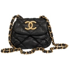 2008 Chanel Black Bubble Quilted Lambskin Micro Flap Bag