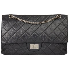 2008 Chanel Black Quilted Aged Calfskin Leather 2.55 Reissue 227 Double Flap Bag
