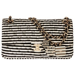 2008 Chanel Black & White Stripe Quilted Velour Classic Single Flap Bag