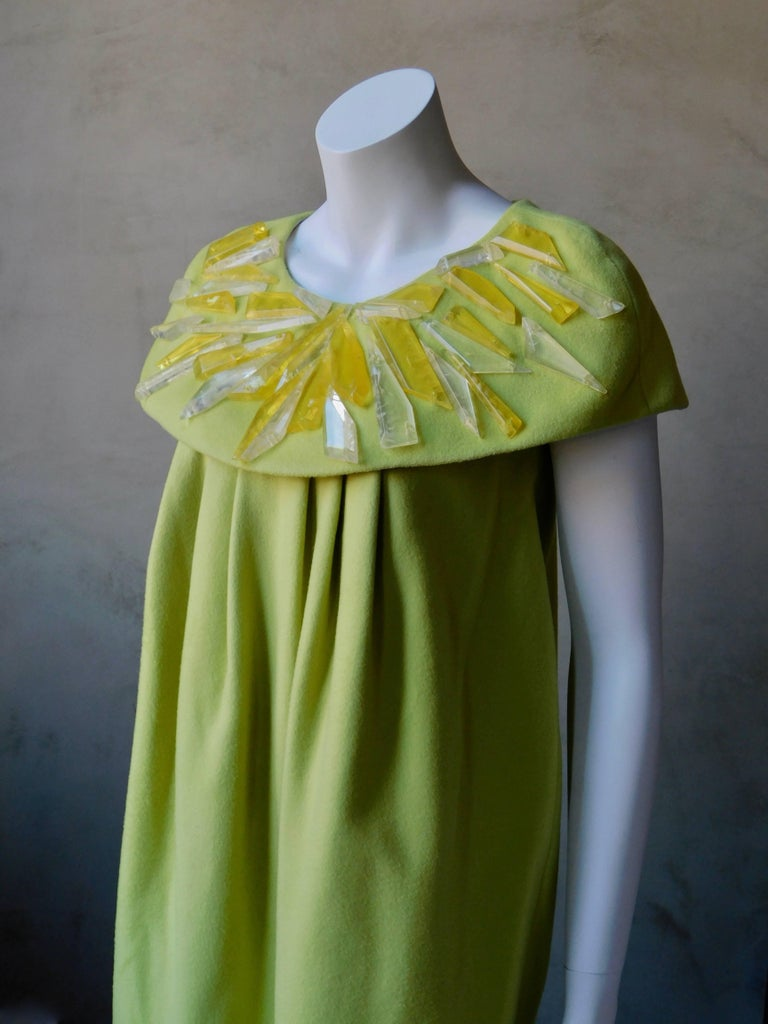 Women's 2008 Emilio Pucci Yellow Cashmere & Wool Dress with Lucite Collar Embellishment For Sale