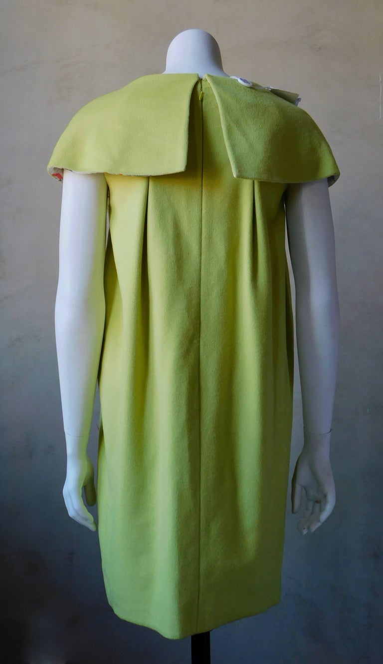 2008 Emilio Pucci Yellow Cashmere & Wool Dress with Lucite Collar Embellishment For Sale 1