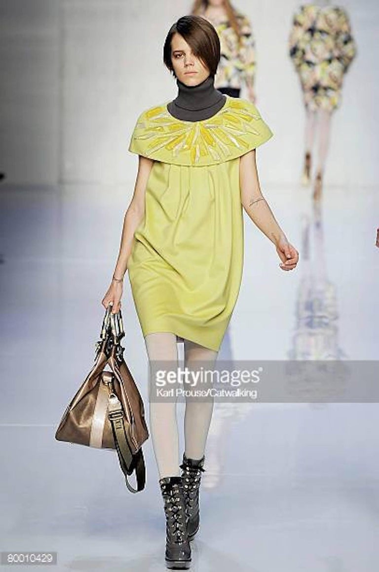 2008 Emilio Pucci Yellow Cashmere & Wool Dress with Lucite Collar Embellishment For Sale 2