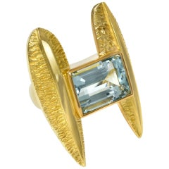 2008 Giorgio Facchini Aquamarine and Gold Ring