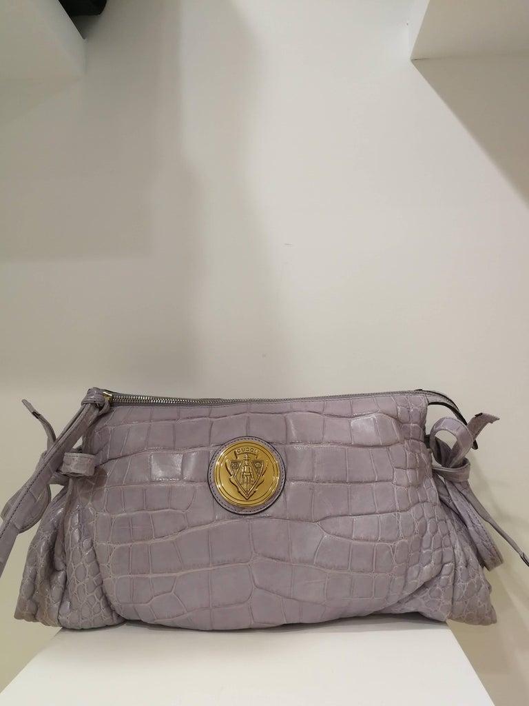 2008 Gucci unique limited edition crocodile leather hysteria lilla bag For Sale 5