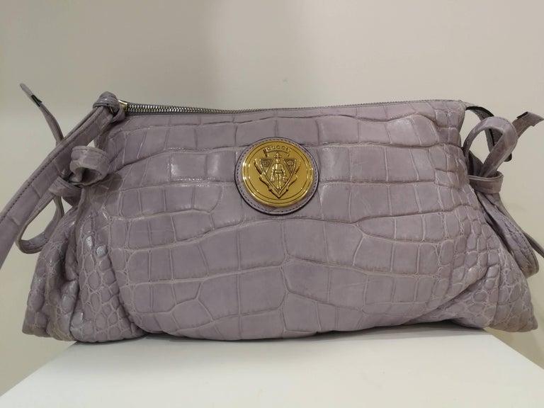 2008 Gucci unique limited edition crocodile leather hysteria lilla bag In New Condition For Sale In Capri, IT