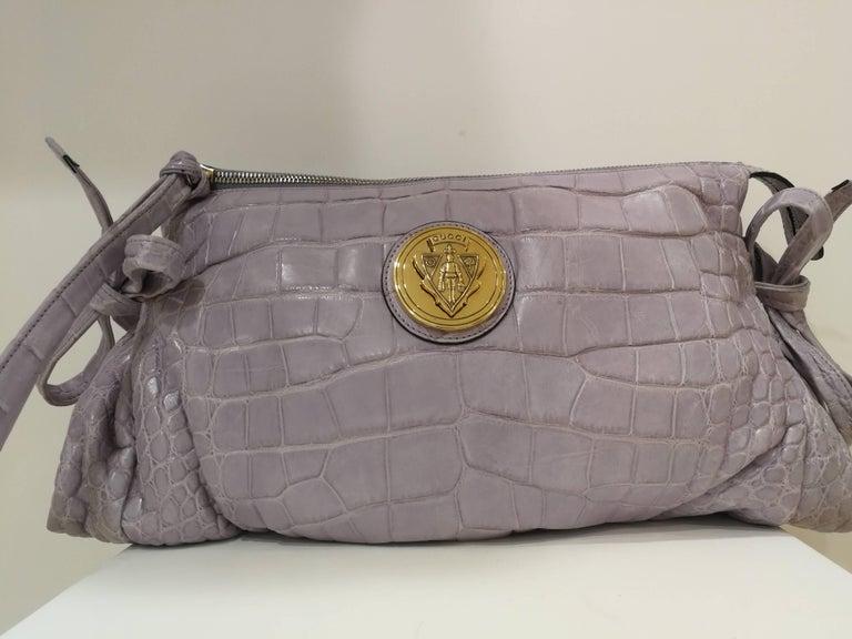 Women's or Men's 2008 Gucci unique limited edition crocodile leather hysteria lilla bag For Sale