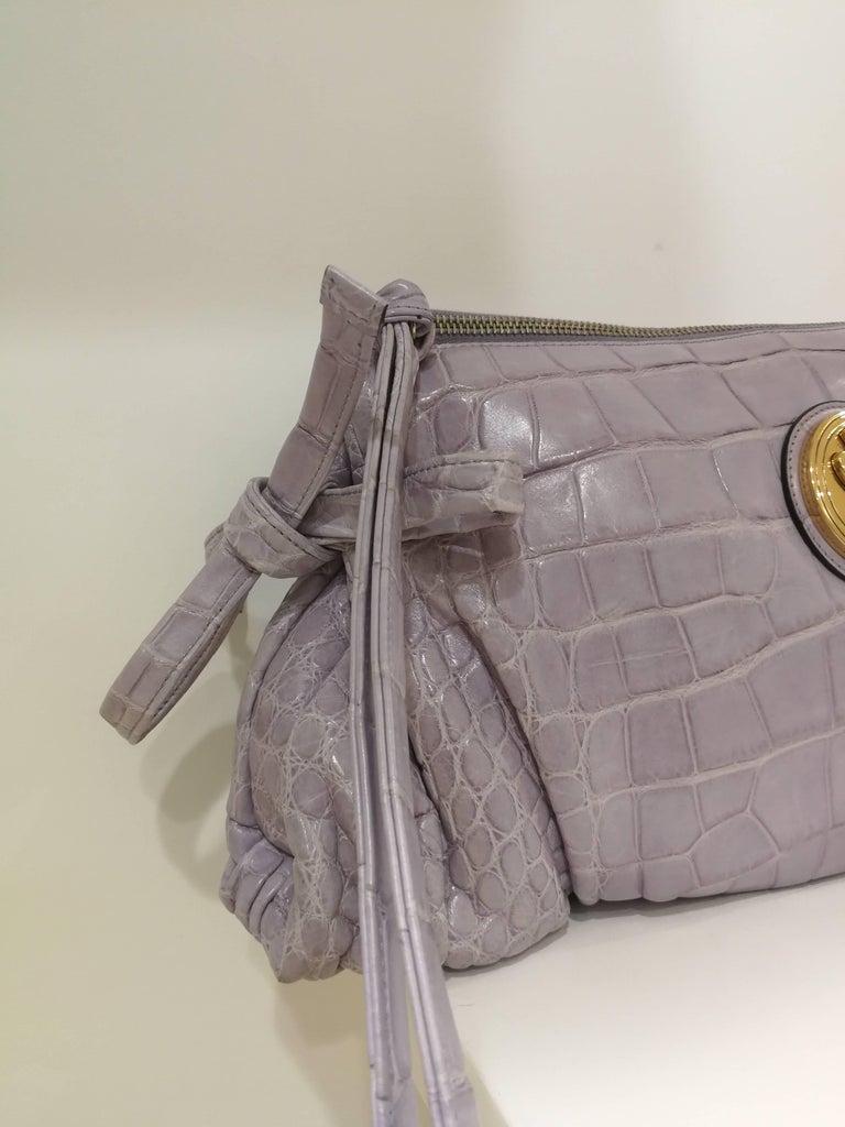 2008 Gucci unique limited edition crocodile leather hysteria lilla bag For Sale 2
