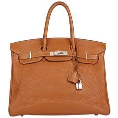 2008 Hermès  Gold Clemence Leather Birkin 35cm
