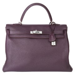 2008 Hermès Raisin Togo Leather Kelly 35cm Retourne