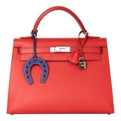 2008 Hermès Rouge Garance Epsom Leather Kelly 32cm Sellier