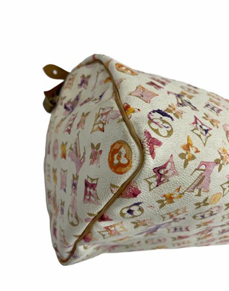 2008 Louis Vuitton Withe Keather  Speedy Aquarelle LE Handbag  For Sale 6