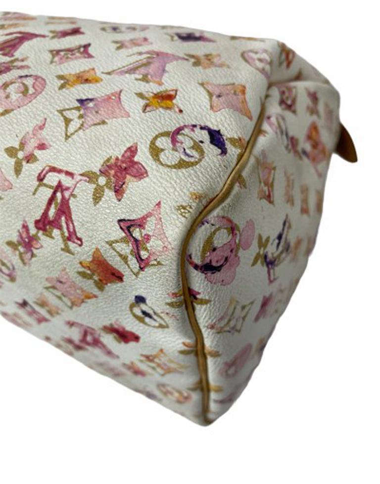 2008 Louis Vuitton Withe Keather  Speedy Aquarelle LE Handbag  For Sale 7