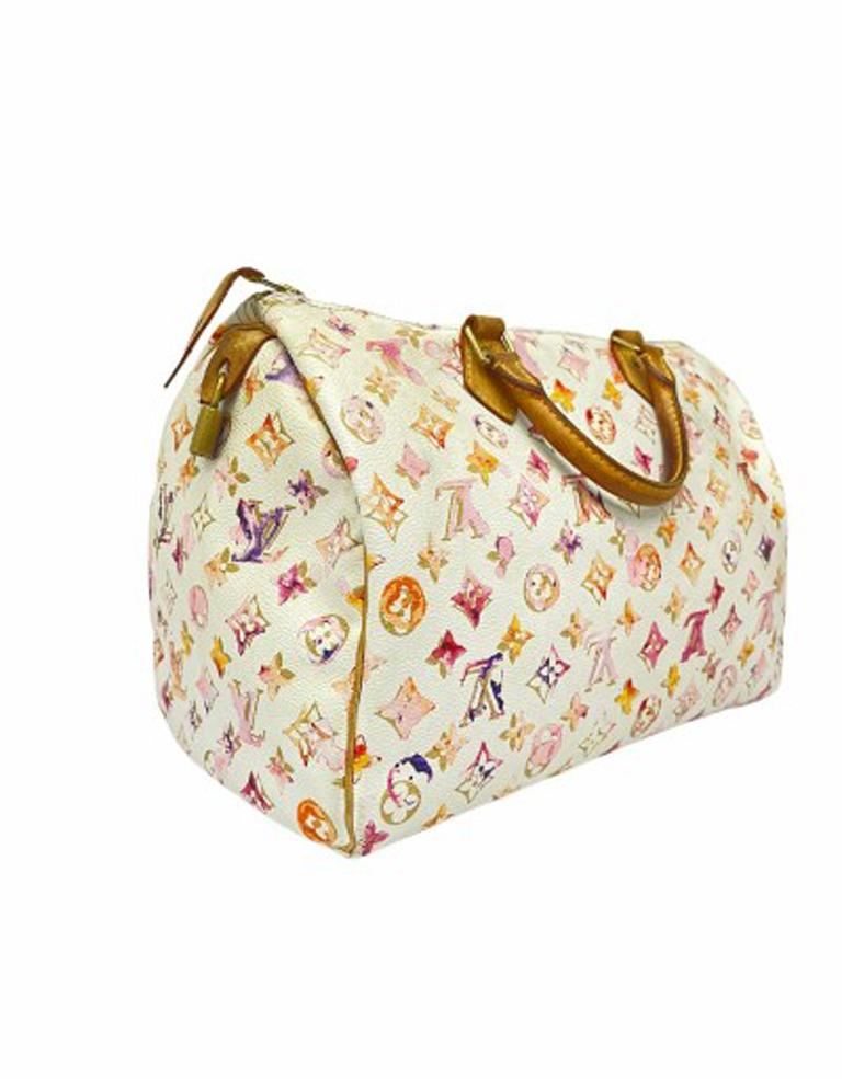 2008 Louis Vuitton Withe Keather  Speedy Aquarelle LE Handbag  In Good Condition For Sale In Torre Del Greco, IT