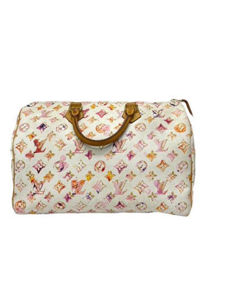 Women's 2008 Louis Vuitton Withe Keather  Speedy Aquarelle LE Handbag  For Sale