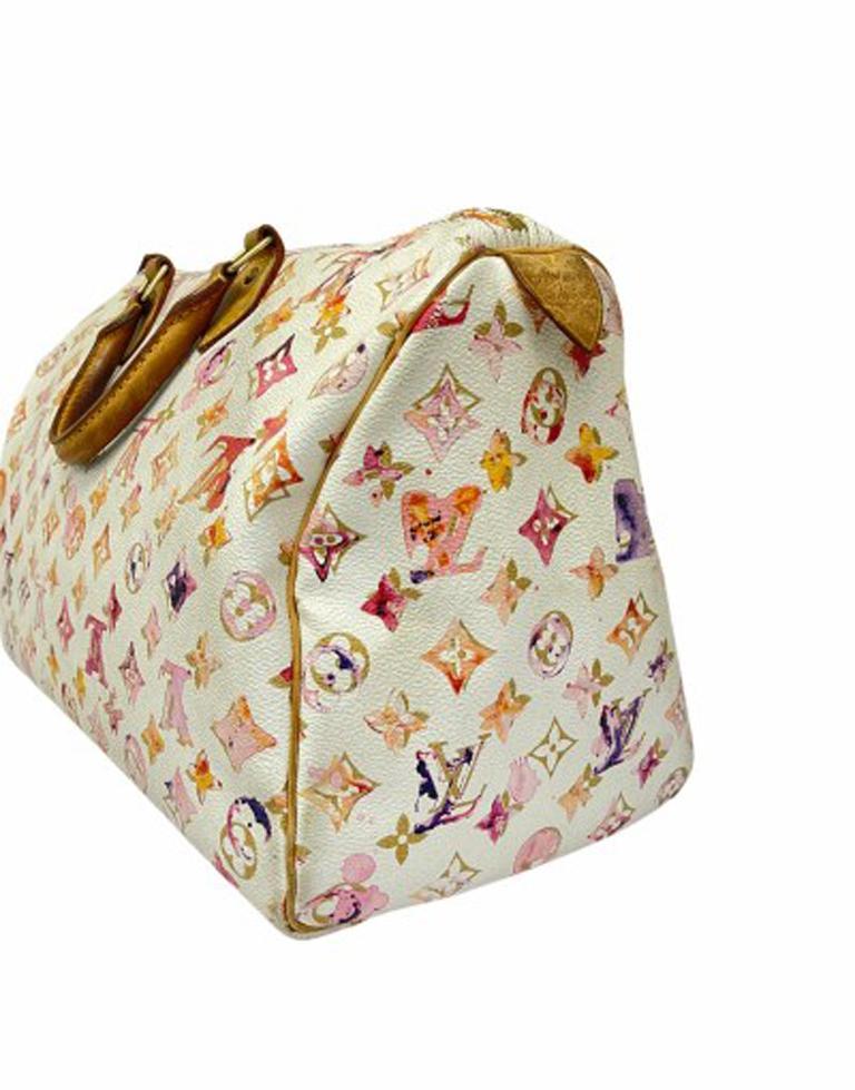 2008 Louis Vuitton Withe Keather  Speedy Aquarelle LE Handbag  For Sale 1