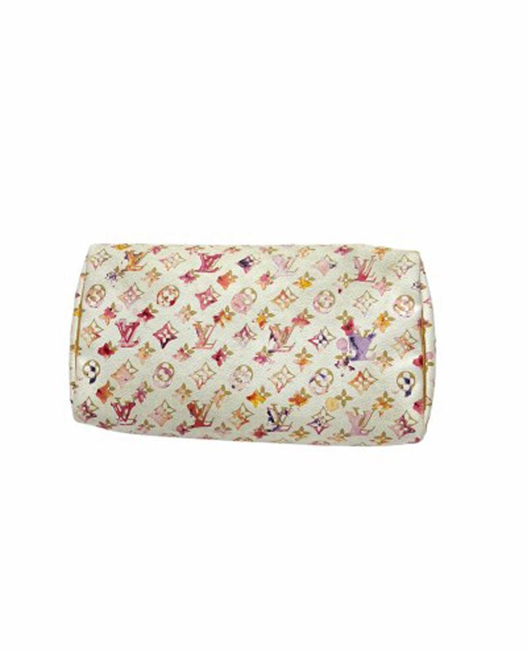 2008 Louis Vuitton Withe Keather  Speedy Aquarelle LE Handbag  For Sale 2