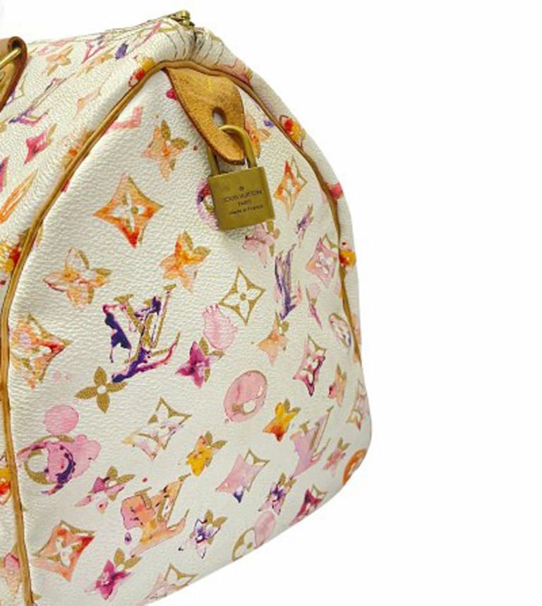 2008 Louis Vuitton Withe Keather  Speedy Aquarelle LE Handbag  For Sale 3