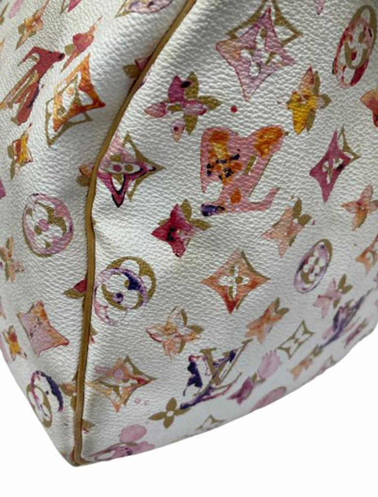2008 Louis Vuitton Withe Keather  Speedy Aquarelle LE Handbag  For Sale 4