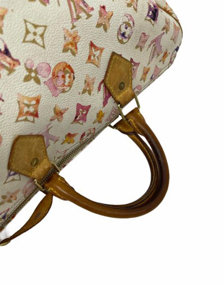 2008 Louis Vuitton Withe Keather  Speedy Aquarelle LE Handbag  For Sale 5