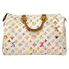 2008 Louis Vuitton Withe Keather  Speedy Aquarelle LE Handbag