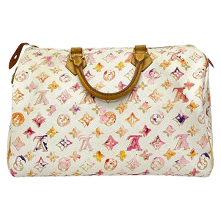 2008 Louis Vuitton Withe Keather  Speedy Aquarelle LE Handbag  For Sale