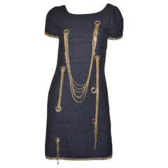 Chanel 2008 Tweed Dress with Chains EU 38