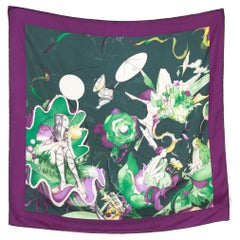 2008 Prada James Jean Fairy Print Throughout  Silk Scarf