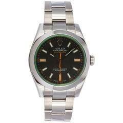 2008 Rolex Stainless Steel Milgauss 116400GV Black Dial Green Crystal