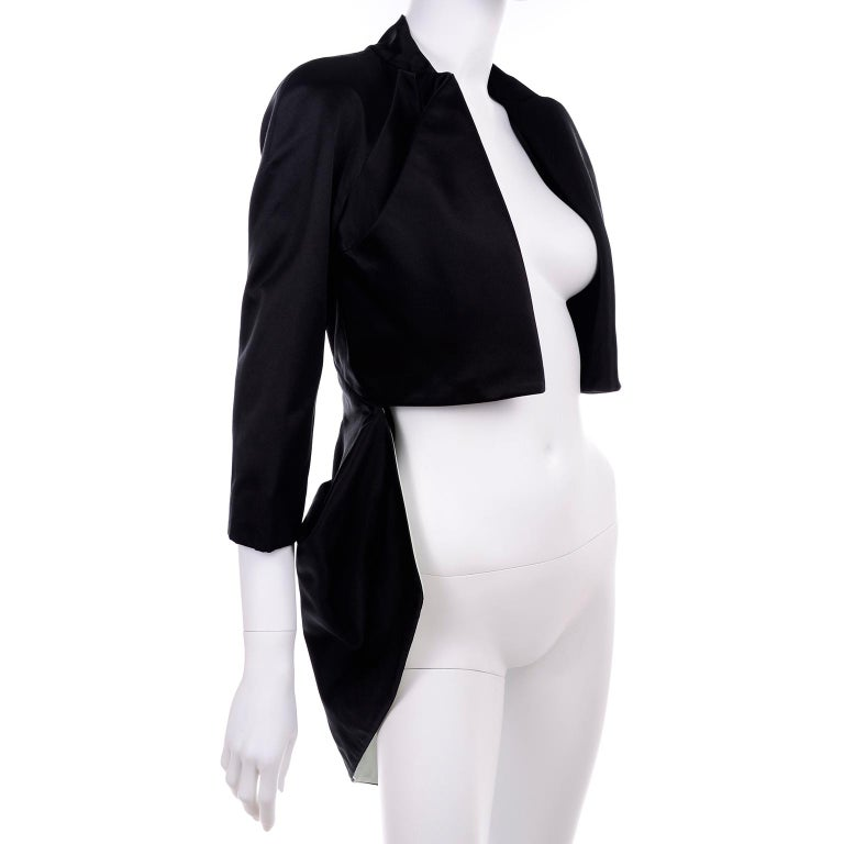 2009 Alexander McQueen Black Silk Cutaway Cropped Tuxedo Jacket With Tails For Sale 6