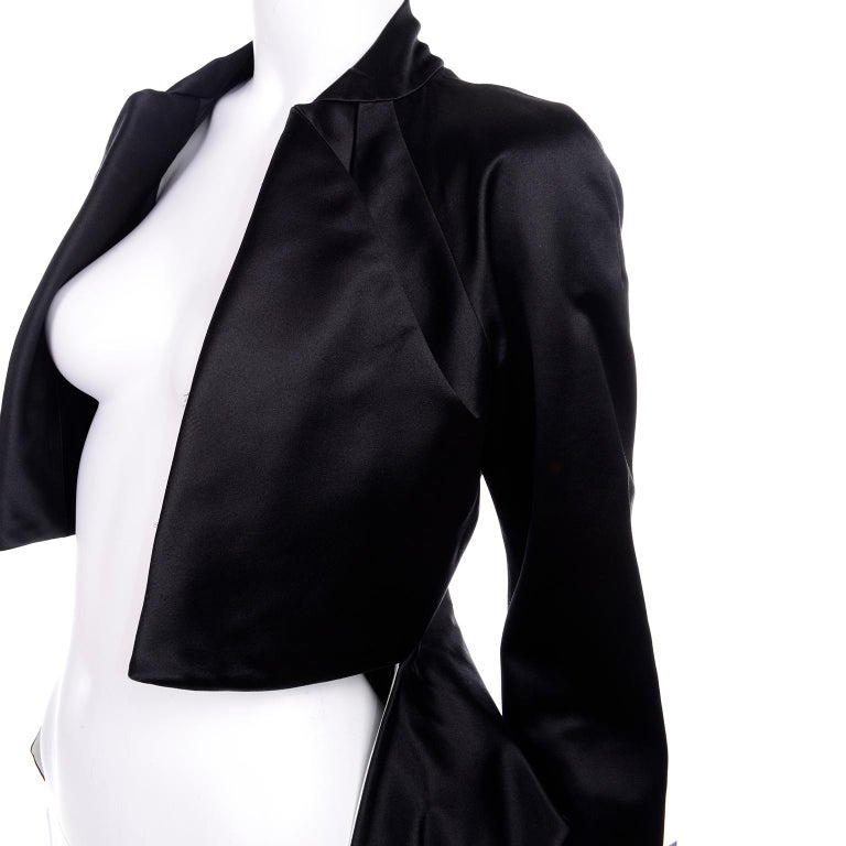 2009 Alexander McQueen Black Silk Cutaway Cropped Tuxedo Jacket With Tails For Sale 7